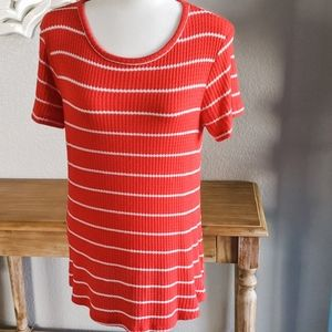 Everleigh Red & White Striped Waffle-Knit …